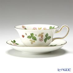 Wedgwood wild strawberry tea cup and saucer (Peony)