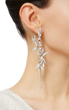 Long Drop Swarovski Crystal Earrings With Multi Thorn Crystal Embellishment by RYAN STORER for Preorder on Moda Operandi