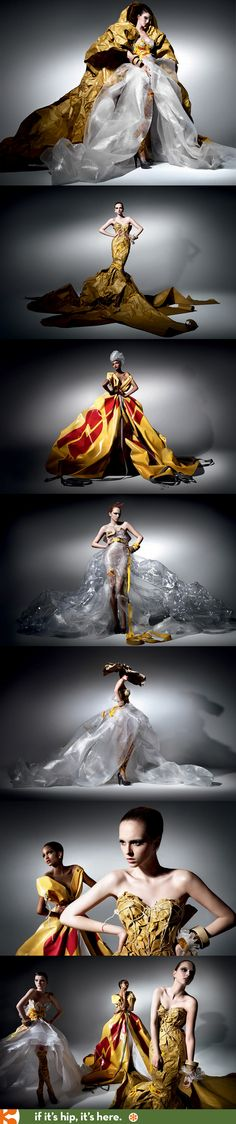 Literally beautifully packaged. Couture fashions made from DHL shipping and packaging supplies.