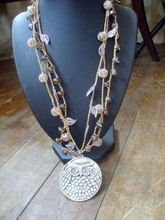 Snow Owl Crochet Necklace by FleasKnees on Etsy, $24.00