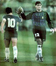Maradona y Goycochea (Argentina) en Mundial de Italia 90