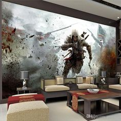 Game View Wall Mural Assassins Creed Photo wallpaper HD Wall Stickers Silk poster living room Bedroom Children's Room Free shipping