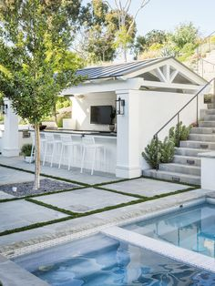 When those nostalgic weekend memories reach out try to pull ya back definitely give in to daydreams that look like a whole lot of this! Pool House Designs, Backyard Pool Designs, Backyard Patio, Backyard Landscaping, Landscaping Ideas, Pool Gazebo, Pergola, Pool Cabana, My Pool