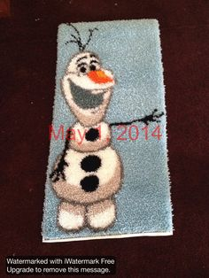 Olaf Snowman Latch Hook Rug from Frozen by kayhillyer on Etsy