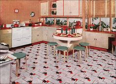 WHY don't they make linoleum patterns like this anymore? This is so cool. 1941 Nairn Linoleum, Kitchen Ad by American Vintage Home, via Flickr