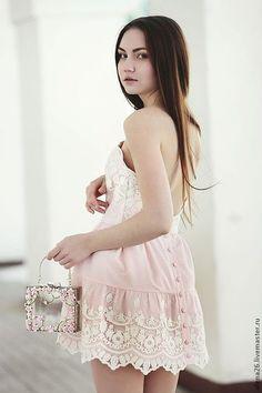 """Cotton dress / Платья ручной работы. Платье """"Cute-Baby"""". Baby-Doll Shop. Интернет-магазин Ярмарка Мастеров. Розовый, короткое платье"""