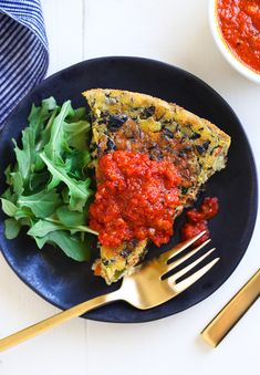 Chickpea Frittata with Roasted Red Pepper Sauce- an eggless frittata ...
