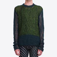 Bicolor Cable Knit Crewneck | Ann Demeulemeester