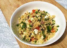 This summery dish is inspired by a light but hearty Mediterranean  favourite, the classic tabbouleh salad. While the traditional recipe calls  for bulgur wheat as the grain, this handy version uses couscous, making it  a very speedy no-cook meal (only involving the boil of a kettle)! So you  can enjoy the fresh flavours of Middle-Eastern cuisine in no time, or even  better, save for lunch the next day as the ingredients really meld together  overnight.