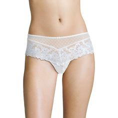 Aubade Wandering Love Saint Tropez Brief ($40) ❤ liked on Polyvore featuring intimates, panties, white lingerie, aubade, aubade lingerie and bow lingerie