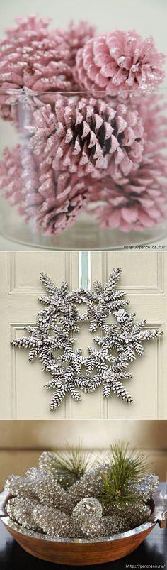Шишки можно покрасить в серебряный цвет, получится милое украшение.