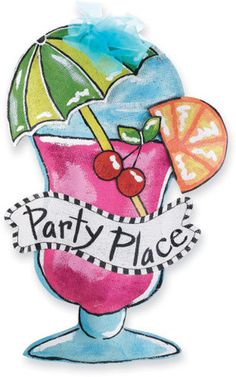 "Party Place Door Hanger - Dimensional painted burlap cocktail door hanger reads, ""Party Place"" and is decorated with glitter and chiffon bow."