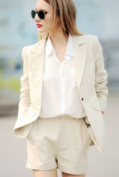 White shorts suit - Summer chic.