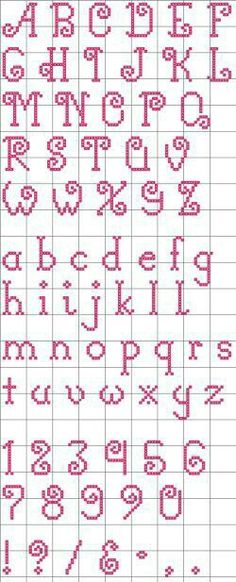 "Free ""Curly-Q"" Alphabet pattern. I like the lower case alphabet. Crochet Alphabet, Cross Stitch Alphabet Patterns, Embroidery Alphabet, Cross Stitch Letters, Cross Stitch Designs, Embroidery Patterns, Cross Stitch Font, Cross Stitch Numbers, Loom Patterns"