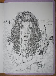 NAKED ASSASSIN Sketch done for upcoming artwork
