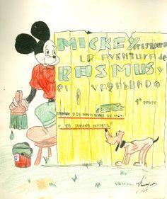 """Cartell il·lustrat per Francisco, per informar de l'hora del conte programada pel dia 7 de novembre de 1964 en la biblioteca Pare Miquel d'Esplugues. El títol de la narració fou: """"La aventura de Rasmus y el vagabundo"""""""