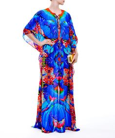 Blue Abstract Lace-Up Caftan Dress #zulily #zulilyfinds