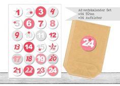 "www.papierbuedchen.de - DIY Adventskalender \"" Tüten & Aufkleber \"" (K15)"