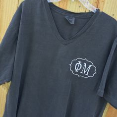 Phi Mu Sorority Monogrammed Comfort Colors by SouthernKnitsbyLaura Frat Girls, Alpha Xi Delta, Phi Mu, Comfort Colors, Knitting Designs, Sorority, V Neck T Shirt, What To Wear, Monogram