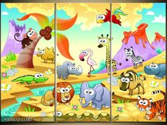 Obraz pro děti slon,lev a žirafa