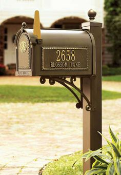 Our regal Seranto Monogrammed Mailbox & Post is a beautiful accent that will enhance your home's appearance for years- address plaques on both sides and a monogrammable door plaque included.