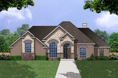 The Rendezvous House Plan - 8189  Reverse master and other bedrooms. like the look of the front of the house