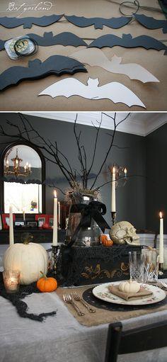 DIY bat garland, Halloween/Samhain - Dining room decorations.