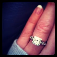 Princess cut with halo. Perfection!