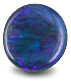 Round Black Opal  The colors in this round black opal are just stunning  -  a combination of vivid violets, blues, teals, turquoise and blues. Truly a mezmerizing array of crisp, cool hues. Black opals are among the rarest of opals and are found mainly in Lightning Ridge (New South Wales, the black opal capital) and Mintabie (South Australia).