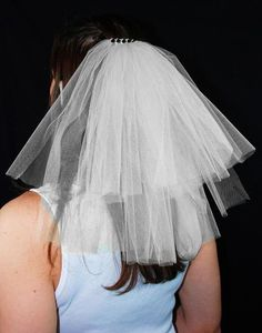 2Tier Bachelorette Party Veil Clip with Rhinestone Top by KenziesTreasures