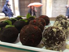 Different flavours of raw cacao energy balls ~ Mint, Chilli and Almond