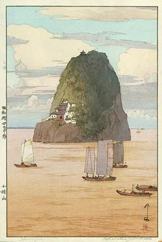 Woodblock print by Hiroshi Yoshida Title: Xiaogushan - Shokozan. Japan Illustration, Hiroshi Yoshida, Art Occidental, Japanese Woodcut, Art Asiatique, Art Japonais, Landscape Prints, Japanese Painting, Art Graphique