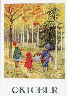 Vintage Books and Illustrators: Illustrator Elsa Beskow was a Work at Home Mom Elsa Beskow, Art And Illustration, Illustrations Vintage, Vintage Books, Vintage Art, Alphonse Mucha, All Nature, Autumn Art, Autumn Trees