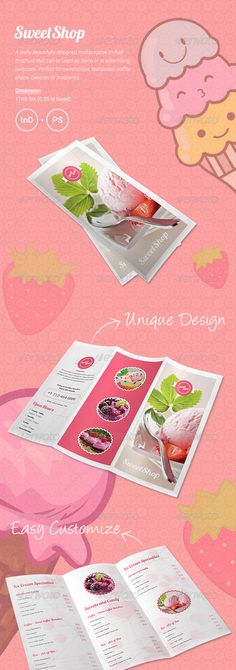 Sweet Shop Menu Tri-fold Brochure
