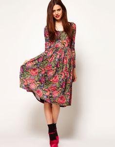 Midi Dress In Tapestry Print $79.16