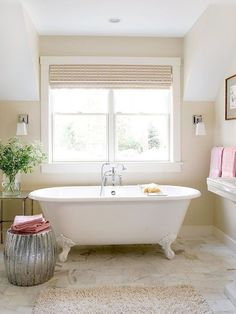 A White Bath, Warmed Up.  Love the color palette