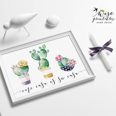 Just NEW! ★ MI CASA ES SU CASA ★ a welcoming Spanish quote sign for your home's and office's foyer, kitchen, bath or anywhere you want to welcome your guests. Cactuses & succulents make this piece of art absolutely adorable.
