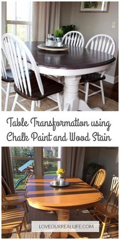 Chalk paint, kitchen table makeover, dining table makeover, wood stain and chalk paint Learn how to makeover an outdated oak kitchen table and chairs using chalk paint / wood stain. Restore your old furniture for a modern look. Dining Table Makeover, Staining Wood, Chalk Paint Kitchen Table, Farmhouse Dining, Kitchen Table Redo, Painted Kitchen Tables, Table Makeover, Furniture Makeover, Diy Kitchen Table