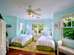 Key West house - The second bedroom has two twin beds that convert to a King upon request. Colorful Coastal, aqua turquoise colors accented with green white. Tropical Bedrooms, Coastal Bedrooms, Bedroom Colour Palette, Bedroom Colors, Key West Decor, Key West House, Key West Style, West Home, Home Bedroom