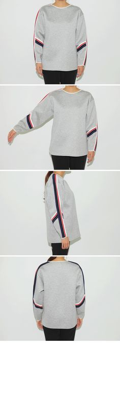 Color Striped Cushion Sweatshirt|stylenanda