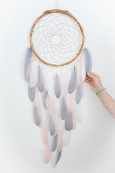 Long Dream Catcher Gray White Mint Green Pink by HippiebyViki