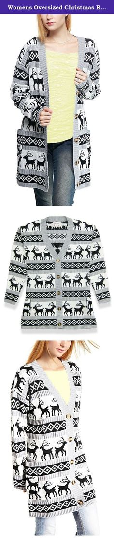 Womens Oversized Christmas Reindeer Cardigan (Medium, Grey Reindeer Cardigan). Get into the festive season with a super cute reindeer poncho. Featuring a classic reindeer design with vintage patterns and yet looks very stylish. Treat yourself, or makes an ideal gift!.