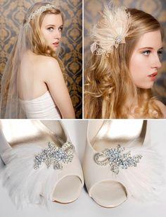 Vintage White Feather Peep Toes via Green Wedding Shoes, A Chair Affair Blog
