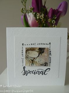speciaal voor jou..(especially for you):Marianne design een mislukt kaartje versneden en kleine vierkantjes voor kaartjes gebruikt c...