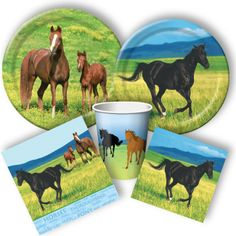 Potential plates and napkins for horse birthday party