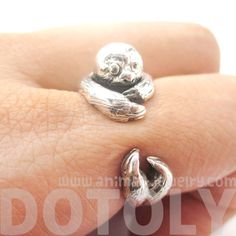 Realistic Sloth Animal Wrap Around Hug Ring In Solid 925 Sterling Silver - US Sizes 4 To 8.5 - $27.99 #sloth #animals #jewelry #rings #cute