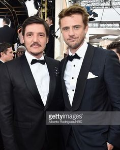 Narcos' Boyd Holbrook finishes off his Golden Globes 2016 look with the W.R.K Winston Dot Pocket Square. Pictured with Pedro Pascal. Styled by @ilariaurbinati @robertboydholbrook @pascalispunk