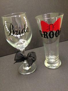 Bride and Groom Wedding Glassware Set by RoKaByeDesigns on Etsy, $20.00