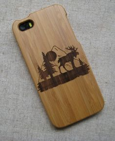 Customized, personalized,Natural wood case, iphone case, graphic,photograhy engraved case for iphone 4/4s,5/5s, gift, Moose  pattern