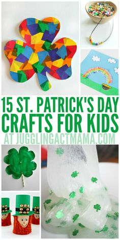 15 St. Patrick's Day crafts for kids | from Juggling Act Mama --- Lots of cute spring and rainbow paper crafts.